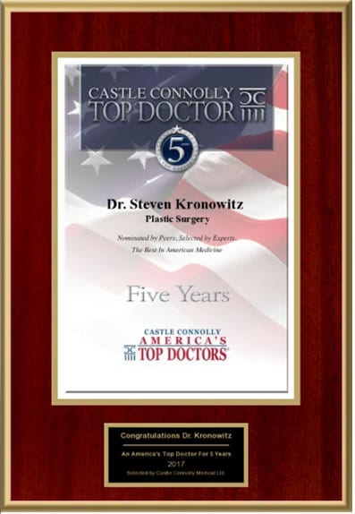 Dr. Kronowitz Awarded Top Doctors for 5 years, Castle Connolly
